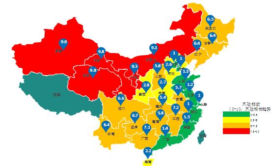 中国各省份的分布式光伏风险指数地图